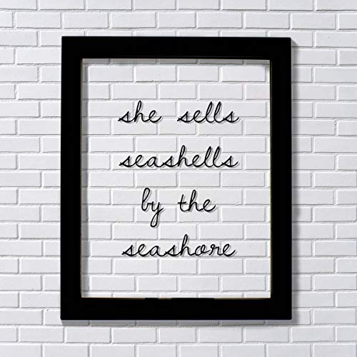 (She Sells Seashells by the Seashore - Floating quote - Girl's Room - Kid's Child's Room - Nursery Decor - Beach Theme - Ocean Sand)