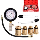 Mougerk Professional Compression Tester,Compression Tester Kit Equipped with Useful 10mm/12mm/14mm/18mm Solid Short Adapter and 2 Straight/Angled Adapter