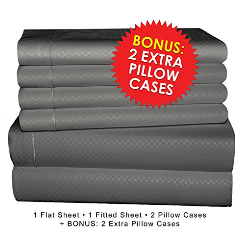 """Microfiber Bed Sheet Set, 6 PIECE, SLEEP BETTER THAN EVER, Premium COOL Ultra Soft Luxury 15"""" DEEP POCKETS on fitted sheet - Egyptian Quality 1600 Series Collection My Perfect Nights (KING,GRAY)"""