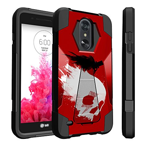 (Untouchble Case for LG Tribute Dynasty, Fortune 2, Zone 4, Risio 3, LG Aristo 2 Skull Case [Traveler Series] Combat Shockproof Dual Layer Hybrid Case Cover with Kickstand - Skull Crow Red)