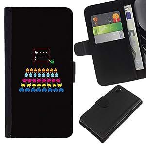 KLONGSHOP // Tirón de la caja Cartera de cuero con ranuras para tarjetas - Juego de ordenador colorido Negro - Sony Xperia Z3 D6603 //