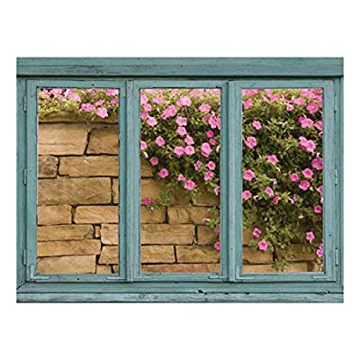 Original Creation, Alluring Visual, Brick Wall with Pink and Green Flowers Cascading Down The Stone face Wall Mural