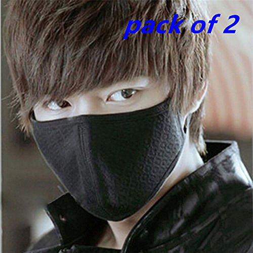 yansanido-2pcs-anti-dust-solid-black-cotton-mask-respirators-fashion-3-layers-activated-carbon-cotto