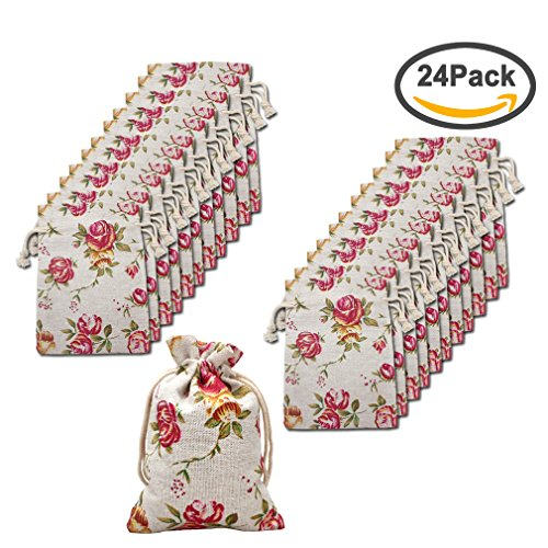 Flower Soap Favors - Amariver 24 Pcs Roses Pattern Burlap Drawstring Bag Double Drawstring Linen Bags Reusable Linen Pouches, Perfect for Jewelry Pouch, Wedding Birthday Parties Favor, Gift/Candy Bags, Set of 24