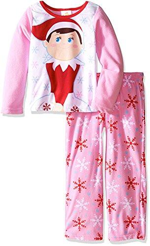 [Elf on the Shelf Girls' Big Girls' 2-Piece Fleece Pajama Set, Pink, 8] (Elf On Shelf Costumes)
