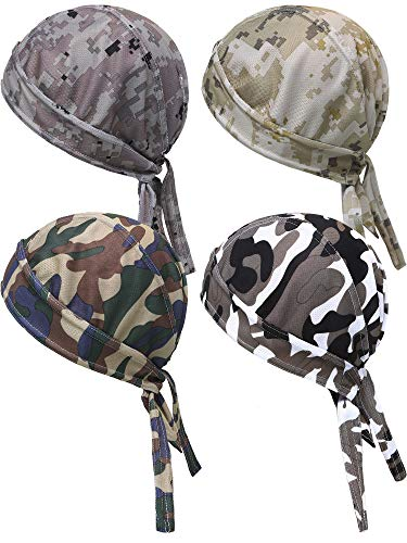 4 Pieces Sweat-Wicking Beanie Cap UV Protection Skull Cap Quick Drying Cycling Head Wrap for Men Women (Color Set 1)