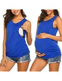 5749e5022c95a Women's Maternity Nursing Top Breastfeeding Tank Top Tee Shirt Double Layer  Sleeveless Pregnancy Shirt