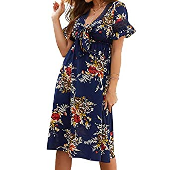 Joick Women Summer Over-Knee Dress Floral Dress Short Sleeves V-Neck Knotted Ruffled Sapphire Blue