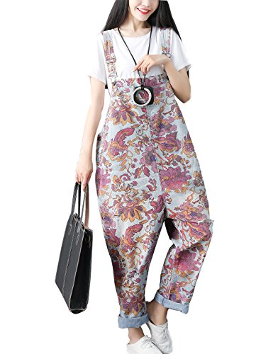 Flygo Women's Loose Baggy Cotton Wide Leg Jumpsuits Rompers Overalls Harem Pants (One Size, Style 14 Floral)