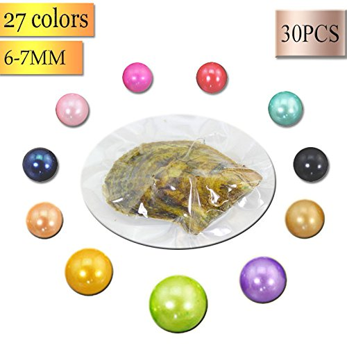 Dyed Sampler (Wholesale 30 pieces Vacuum packed 6-7mm Loose Round pearl in Cultured Akoya Pearl Oyster Shell Colorful Dyed freshwater Pearls)