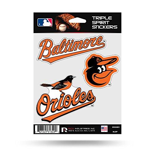 Baltimore Orioles Triple Sticker Multi Decal Spirit Sheet Auto Home Baseball