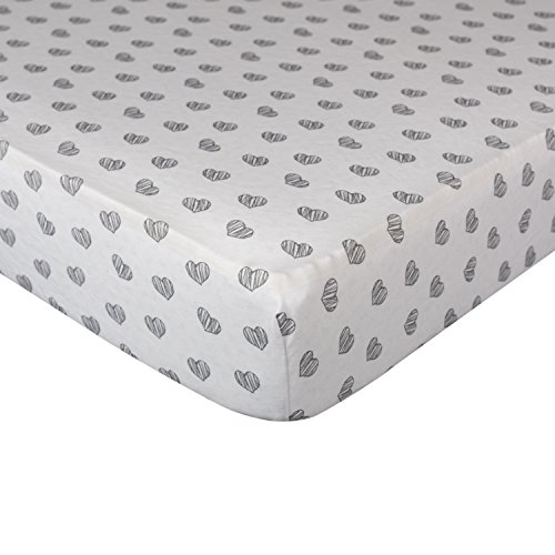 Living Textiles Crib Fitted Sheet - Sketched Hearts