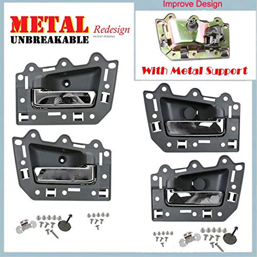 For 05-11 Jeep Grand Cherokee Interior Inner Inside Door Handle 4PCS Gray Chrome Bolt 05 06 07 08 09 10 11 DS294-NS