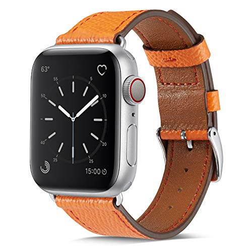 MARGE PLUS Compatible with Watch Band 38mm 40mm, Genuine Leather Watch Strap Compatible with Watch Series 4 (40mm) Series 3 Series 2 Series 1 (38mm) Sport and Edition, Orange