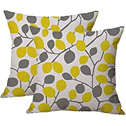 Set of 2 Jahosin Yellow and Grey Cotton Linen Throw Pillow Case Cushion Cover 18 x 18 - Pillow cover Decorative (Yellow and Grey Leaves)
