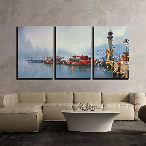 wall26 - 3 Piece Canvas Wall Art - Fishing Boat in Harbor at Morning,Watercolor Painting Style - Modern Home Decor Stretched and Framed Ready to Hang - 24