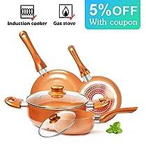 KUTIME 6pcs Cookware Set Non-stick Frying Pans Set Ceramic Coating Soup Pot, Milk Pot, Copper Aluminum Pan with Lid Gas Induction Compatible, 1 Year Warranty