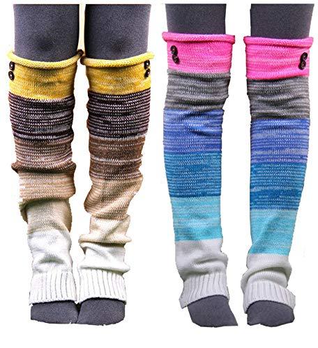 Rainbow&yellow VIGVOG Women Boho Knitted Boot Gaiters Long Leg Warmer