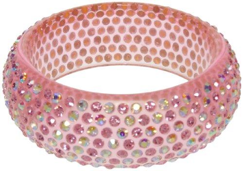 - Bracelet - Pink Acrylic Bangle with Iridescent Crystals - Kiki's Fab Gab