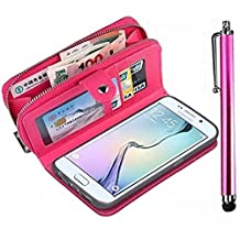 Samsung Galaxy Grand Prime G530 Zipper Wallet Case,Vandot Multi-purpose Luxury PU Leather Cover Purse Bag Flip Folio Magnetic Business Style pattern with Wrist Strap Card Holder+Bling Stylus Pen-Rose Red