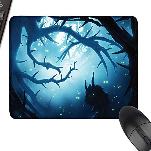 Mystic Decor Desk Pad, Office Desk Mat Animal with Burning Eyes in Dark Forest at Night Horror Halloween Illustration Laptop Desk Mat, Waterproof Desk Writing Pad 35.4