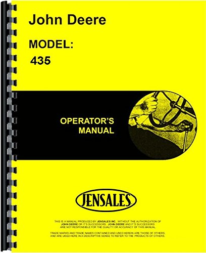 John Deere 435 Diesel Tractor Owner Operators Manual