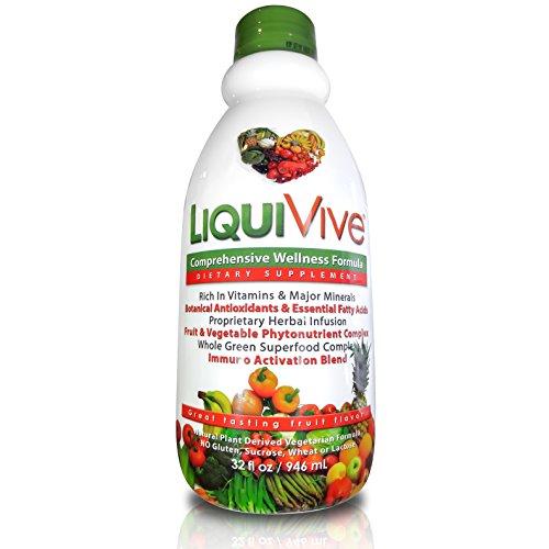LiquiVive Liquid Vitamins Vegetarian Dietary Supplement | Best Whole Food Anti-Aging Green Superfood Daily Multivitamin | With Vitamin A B12 C D E K | 99.9% Vegan Non-GMO Gluten Free 32 fl oz (Liquid Multivitamins)