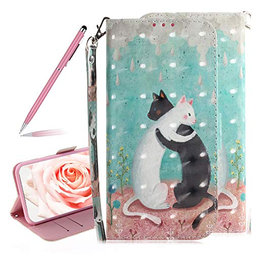 SKYXD 3D Colorful Painted Black and White Cat Pattern Soft PU Leather Case for Huawei Mate 20 X, Luxury Shiny Flip Folio Wallet Magnetic Closure Kickstand Feature Wrist Strap for Huawei Mate 20 X