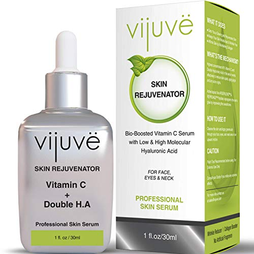 VIJUVE 45% Vitamin C Serum with Double Hyaluronic Acid and Collagen Peptides for Face, Eyes, Neck and Chest - Bio-Boosted Anti Aging Skin Care for Dark Spots, Wrinkles, Tightening and Even Tone, 1oz.