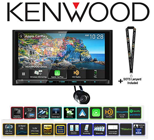 "6.8"" DVD Receiver with a Bullet Style Backup Camera Bundle with Sound of Tri-State Lanyard - Kenwood eXcelon ddx9906xr"
