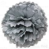 4 Inch Tissue Paper Flower Pom Poms, Pack of 10, Grey