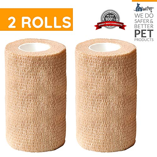 (WePet Original Vet Wrap Self Adhesive Gauze, Cohesive Bandage for Animals, Adherent Wrap for Prairie Horse Dogs Cats & Animal use Supply for Vetwrap Tape First Aid Adhering Stick Bandage,)