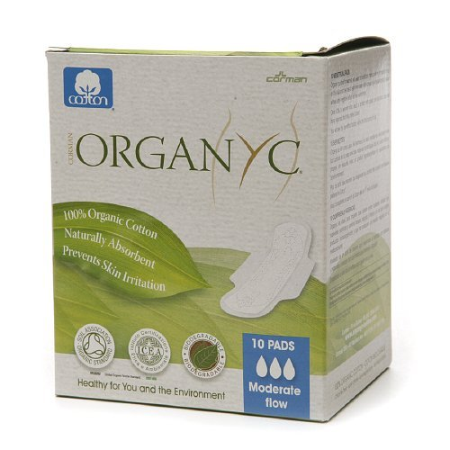ORGANYC Hypoallergenic 100% Organic Cotton Pads Day Wings, 10-count Box (Organic Menstrual Pads)