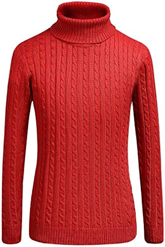 SSLR męski sweter z rolowanym kołnierzem drobno tkany Basic długi rękaw Slim Fit bawełna sweter z dzianiny: Odzież