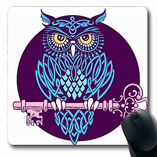 (Ahawoso Mousepads for Computers Bronze Purple Ornate Owl Covered Celtic Patterns Sits Predator Key Blue Keeper Night Abstract Ancient Oblong Shape 7.9 x 9.5 Inches Non-Slip Oblong Gaming Mouse Pad)