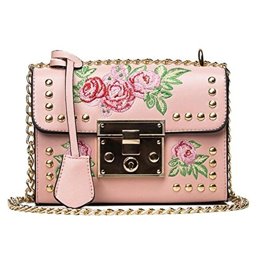 Bag National Messenger White Rivets Bag Leather Embroidery Small Square Bag Tide Embroidery Wind New Lock Pink Handbag Chain PU TOOGOO d71xX6x