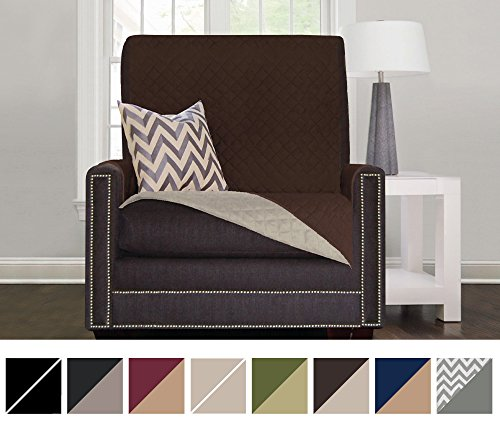Sofa Shield Reversible Furniture Protector elastic Strap to Keep Cover in Place, Chair - Chocolate/Beige (Shield Chair)
