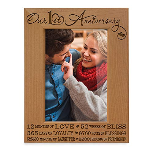 KATE POSH - Our 1st Anniversary Picture Frame - 12 Months Engraved Natural Wood Photo Frame - First (1st), Paper, 1 Year as Husband and Wife (4x6-Vertical) (1 Year Picture Frame)