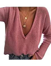 omniscient Womens Oversized Loose Long Sleeves Knit V Neck Sweater