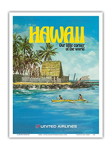 (Hawaii - United Airlines - City of Refuge, Honaunau Bay - Vintage Airline Travel Poster by Michael Hagel c.1970s - Master Art Print - 9in x 12in )