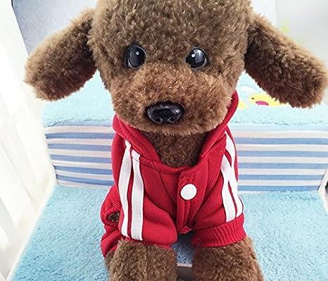 Idepet(TM) Adidog Pet Dog Cat Clothes 4 Legs Cotton Puppy Hoodies Coat Sweater Costumes Dog Jacket (XS, Red) HP02090_RD_XS-HXL
