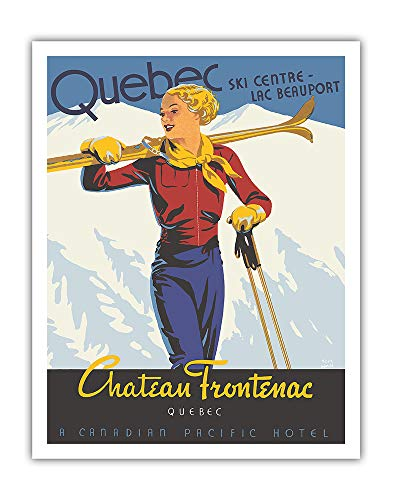 Pacifica Island Art - Québec - Château Frontenac - Ski Resort - Canadian Pacific Hotel - Vintage Railroad Travel Poster by Thomas Hall c.1938 - Fine Art Print - 11in x 14in