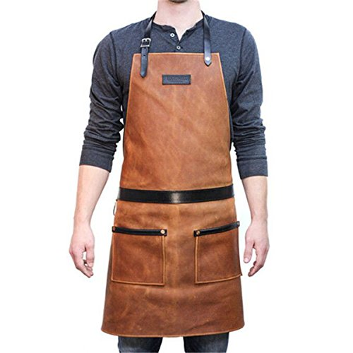 Canvas Heavy Duty Work Apron with Pockets VANORIG Painting Home Shop Kitchen Cooking Garden Tool Apron for Men and (Canvas Barbecue Apron)