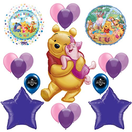Winnie The Pooh and Piglet Happy Birthday Party Supplies Balloon Decoration Bundle