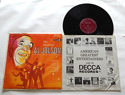 """The Immortal Al Jolson LP - Decca Records 1958 - Vinyl LP Record - """"Chicago"""" """"Alexander's Ragtime Band"""" """"Easter Parade"""" """"For Me and My Gal"""""""