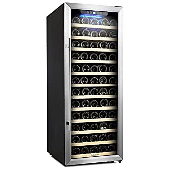 Kalamera 80 Bottle Freestanding Compressor Wine Cooler-Stainless Steel & Black/ Single Zone Thermostat with Touch Control/Blue LED Lighting