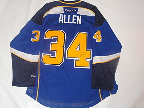 Authentic Blue Autographed Reebok Jersey (Jake Allen Autographed Signed Reebok Premier St. Louis Blues Home Jersey Licensed JSA)