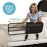 Stander EZ Adjust Bed Rail, Adjustable Senior Bedrail and Bedside Standing Assist Grab Bar with Organizer Pouch
