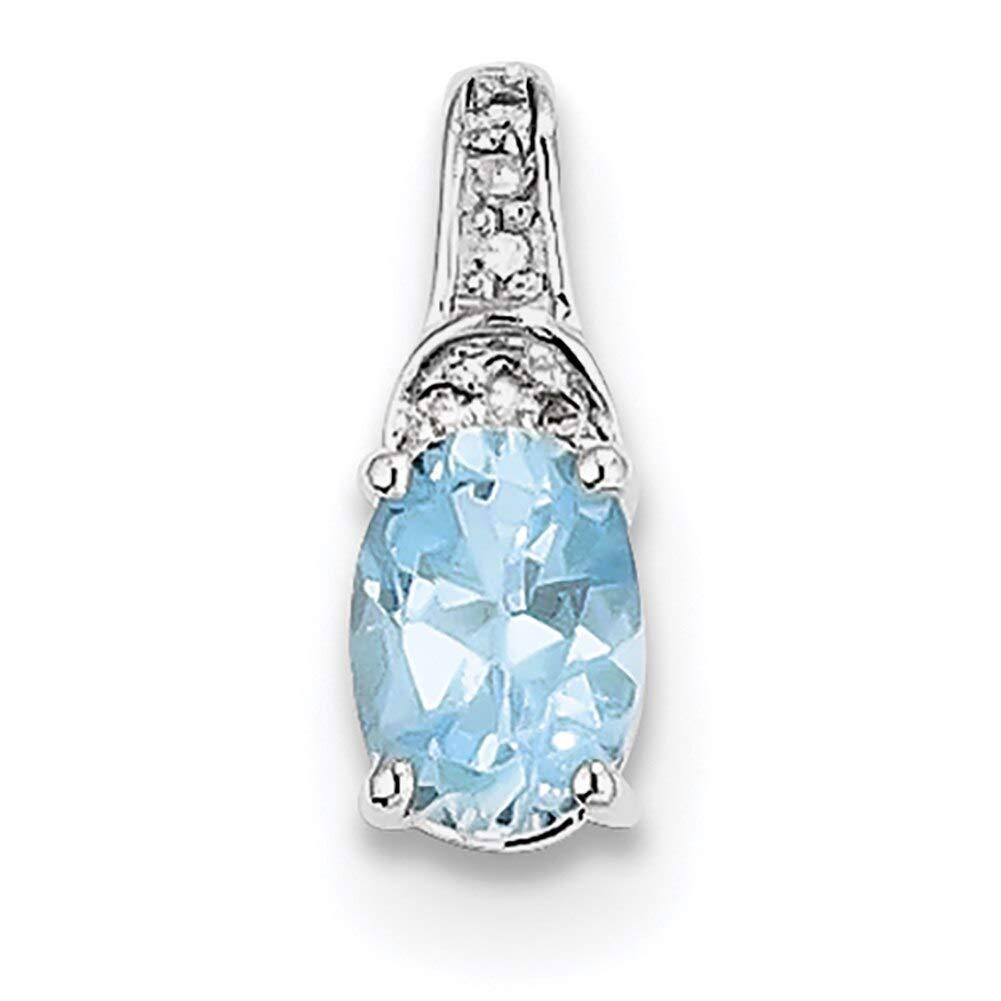 Lex /& Lu Sterling Silver Diamond /& Light Swiss Blue Topaz Oval Pendant LAL115159-Prime
