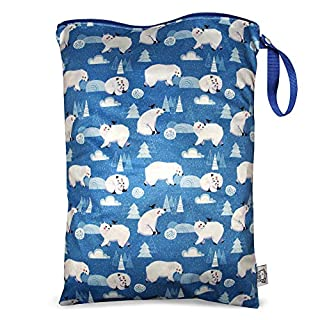 FLOCK THREE Waterproof and Reusable Wet Bag Diaper Stroller Water Resistant Swimsuit Travel Toiletries Yoga Gym Washable Carrier Polar Bear Large 12.6'' x 16.5''